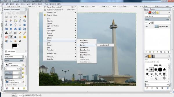 menu akses Line border 2 pada GIMP