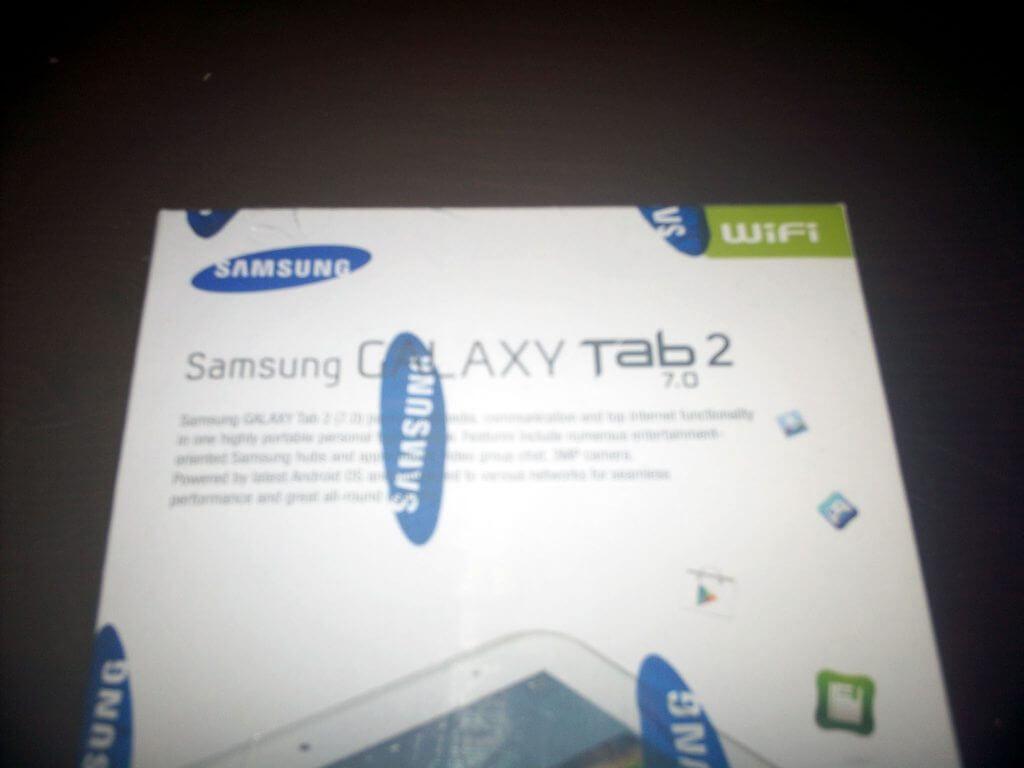 Boks kemasan Samsung Galaxy Tab 2 7.0 Wifi-only (GT-P3110) detail bagian atas