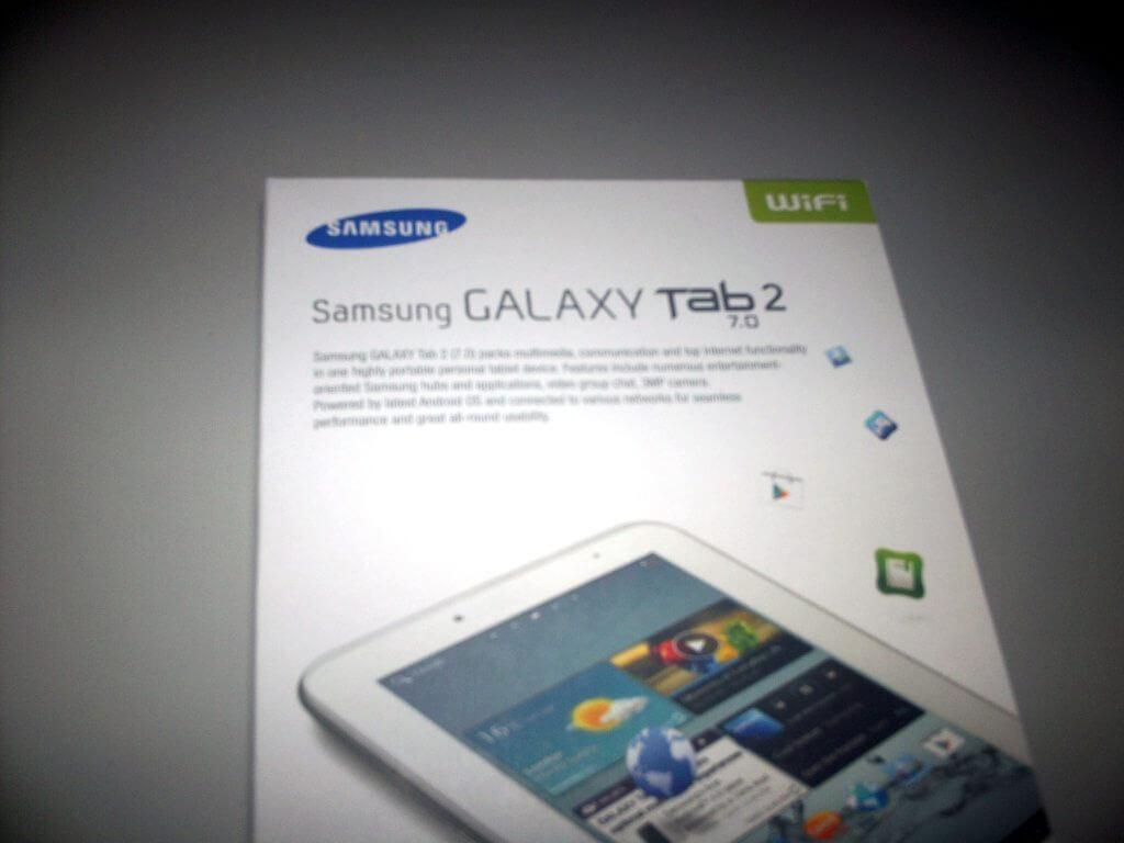 Boks kemasan Samsung Galaxy Tab 2 7.0 Wifi-only (GT-P3110) plastik dibuka detail bagian atas