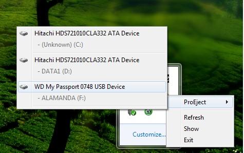 Tampilan pilihan drive ProEject