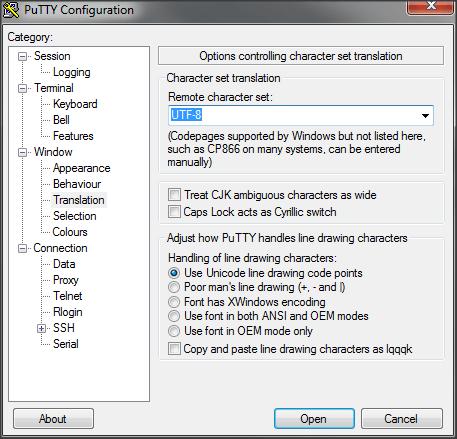 Konfigurasi UTF-8 pada Putty