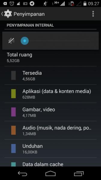 tampilan keterangan media penyimpanan pada Motorola Moto-G