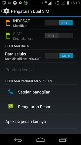 Pengaturan Dual-SIM pada Motorola Moto-G