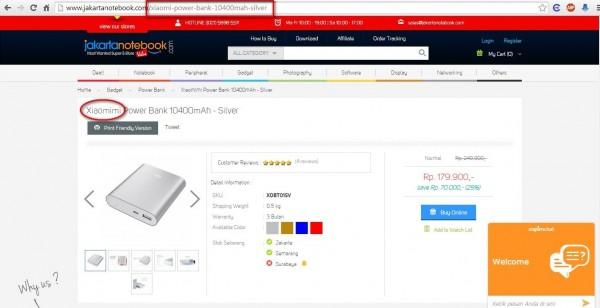 Tampilan jakartanotebook.com yang memajang foto powerbank Xiaomi