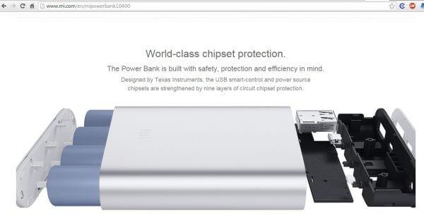 Tampilan spesifikasi powerbank Xiaomi pada website resmi Xiaomi.