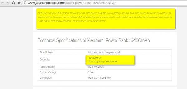 Keterangan powerbank Xiaomimi OEM