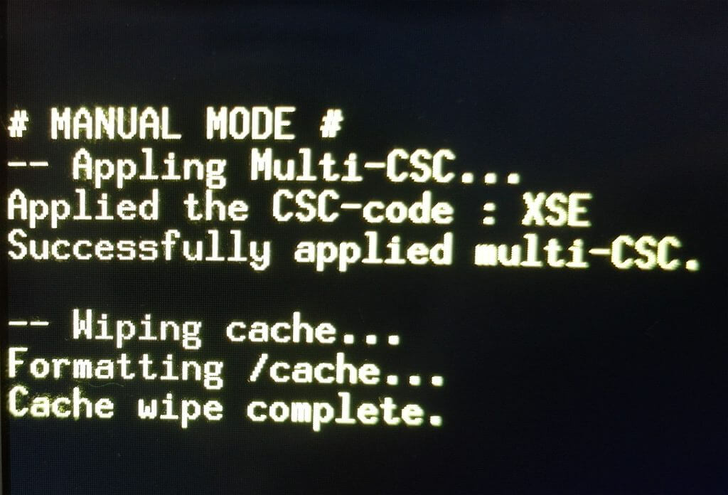 "Proses ""Wipe cache partition"" selesai pada mode recovery Samsung Galaxy Tab 2"