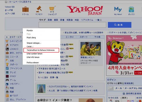Chrome klik kanan Translate