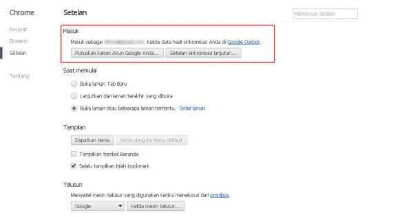 Google Chrome - Setelan sinkronisasi