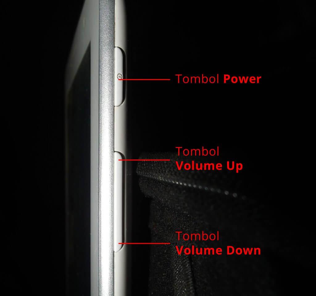 Lokasi tombol pada Samsung Galaxy Tab 2 7.0