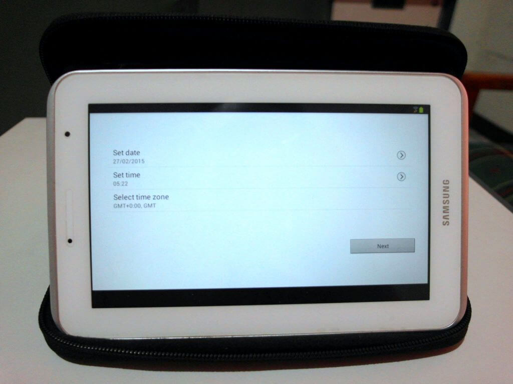 Setting awal perangkat  Samsung Galaxy Tab 2 7.0 - tampilan setting waktu