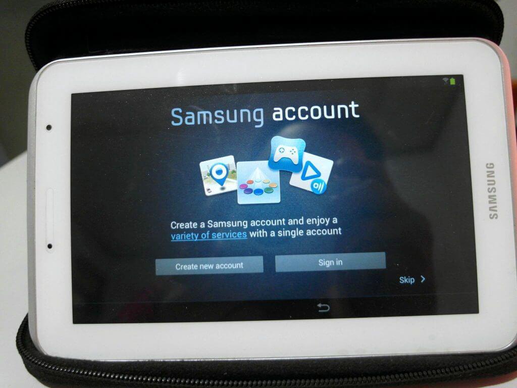 Setting awal perangkat Samsung Galaxy Tab 2 7.0 - tampilan Samsung Account