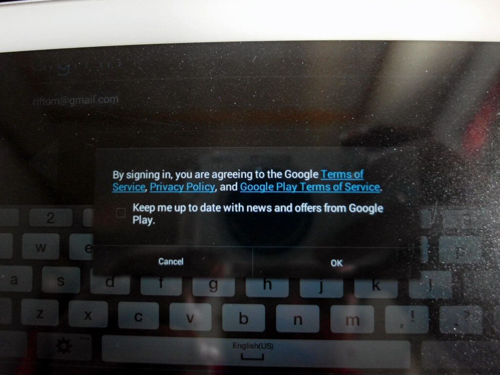 Aktivasi Samsung Galaxy Tab 2 7.0 - konfirmasi Google Account