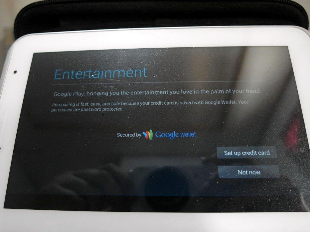 Aktivasi Samsung Galaxy Tab 2 7.0 - tampilan setting Google Wallet