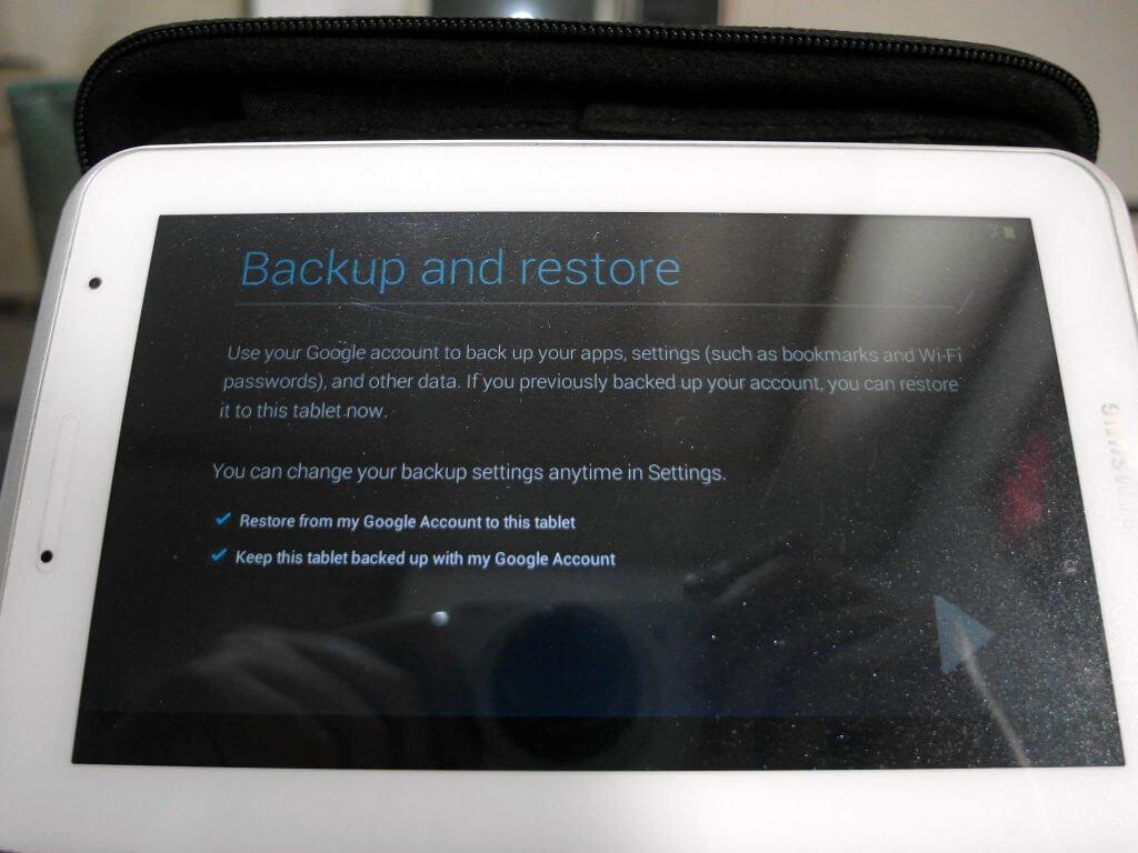 Aktivasi Samsung Galaxy Tab 2 7.0 - tampilan setting Backup & Restore