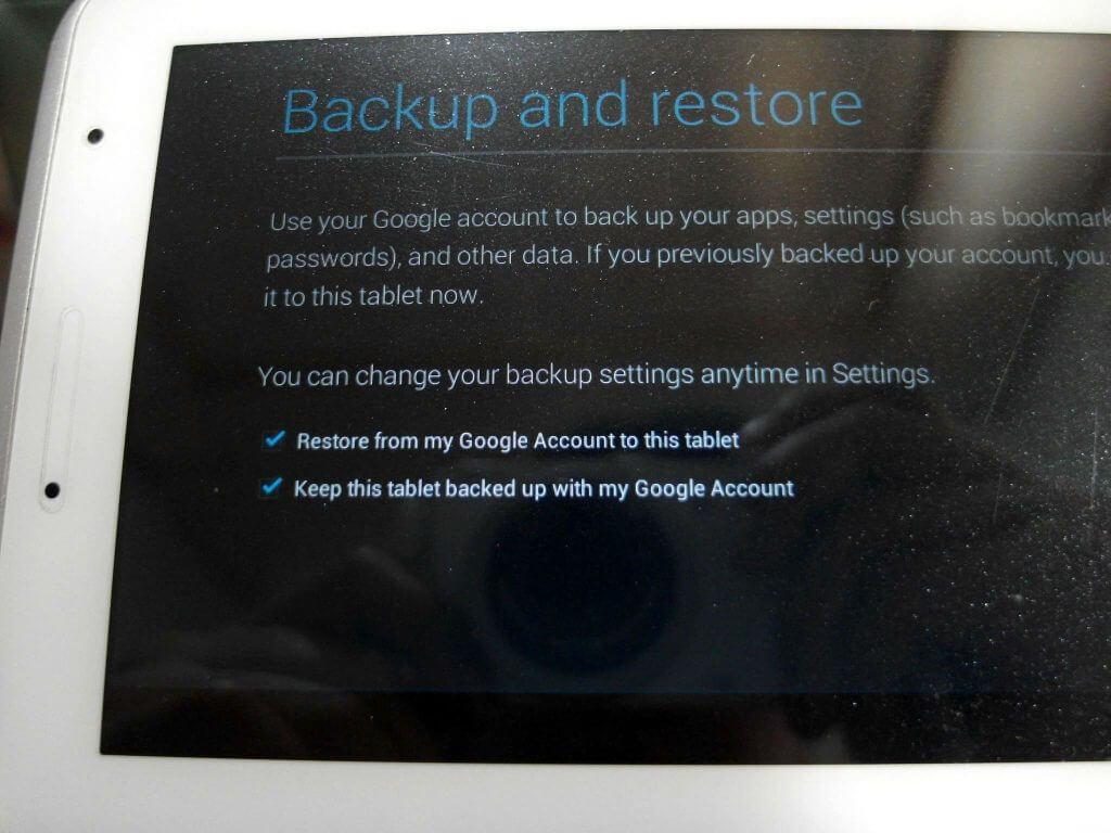 Aktivasi Samsung Galaxy Tab 2 7.0 - pilihan setting Backup & Restore