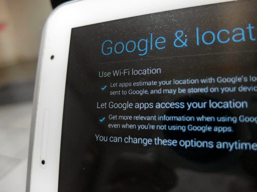 Aktivasi Samsung Galaxy Tab 2 7.0 - pilihan setting lokasi