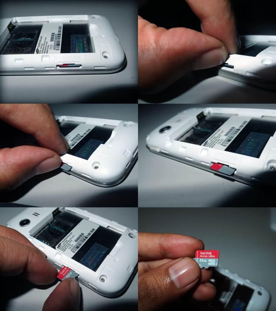 Cara melepas memory card (microSD) pada Samsung Galaxy Young