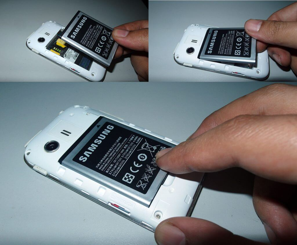 Cara memasang baterai pada Samsung Galaxy Young