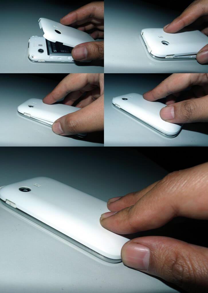 Pemasangan casing belakang pada Samsung Galaxy Young
