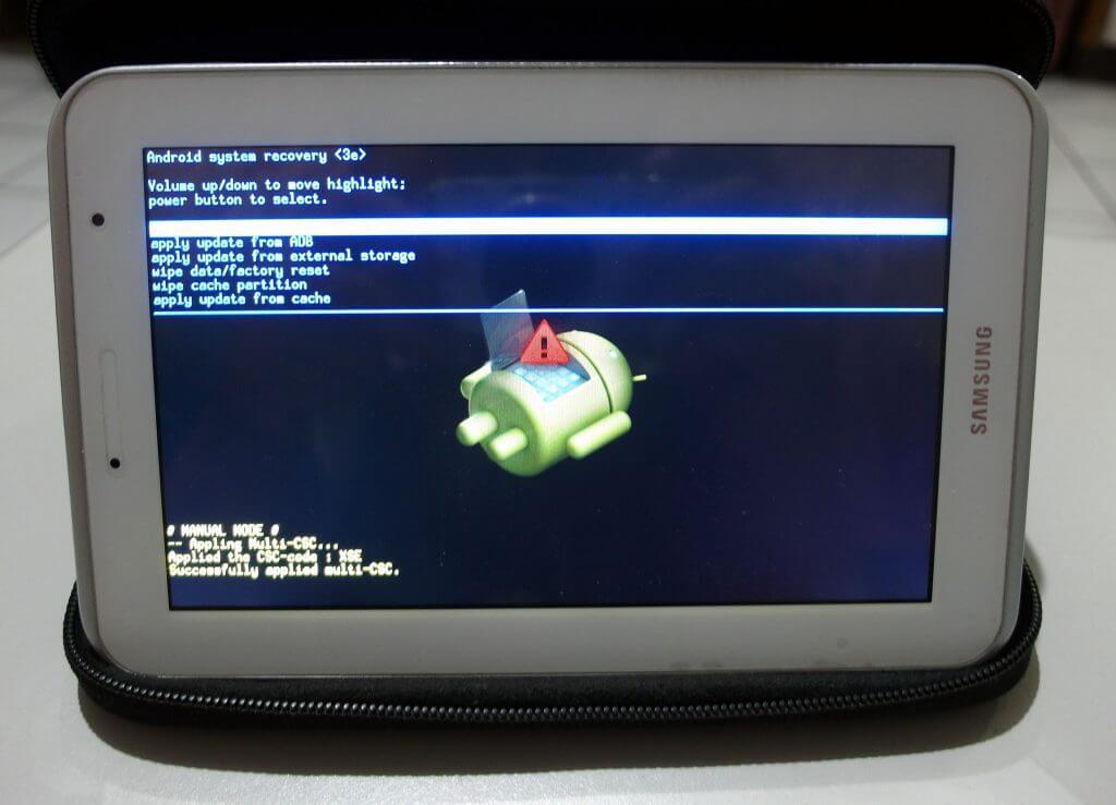 Tampilan recovery mode pada Samsung Galaxy Tab 2 7.0