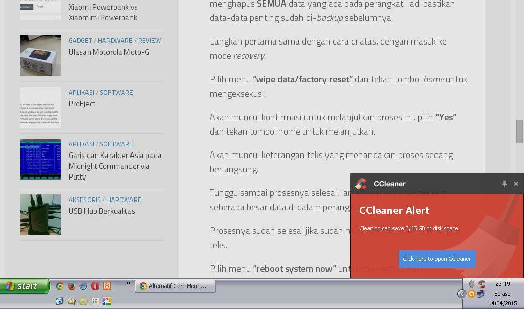 Notifikasi CCleaner pada Windows