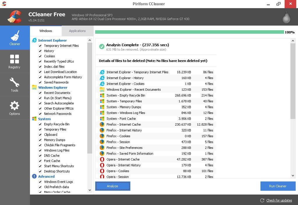 Tampilan CCleaner - selesai menganalisa komputer