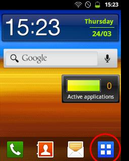 Masuk ke halaman aplikasi (Samsung Galaxy Young)