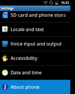 "Pilih menu ""About Phone"" (Samsung Galaxy Young)"