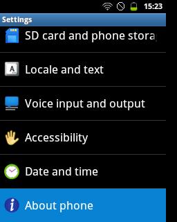 """Pilih menu """"About Phone"""" (Samsung Galaxy Young)"""