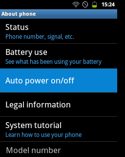 "Pilih menu ""Auto power on/off"" (Samsung Galaxy Young)"
