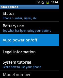 "Pilih menu ""Auto power on/off"" (Samsung Galaxy Young)"