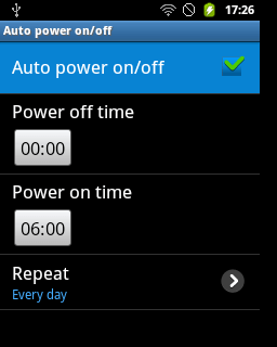 "Centang pilihan ""Auto power on/off"" (Samsung Galaxy Young)"
