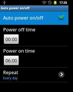 "Centang pilihan ""Auto power on/off"" (Samsung Galaxy Young)"