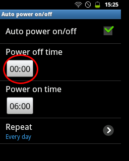 "Tap kotak waktu ""Power off time"" (Samsung Galaxy Young)"