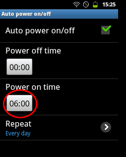 "Tap kotak waktu ""Power on time"" (Samsung Galaxy Young)"