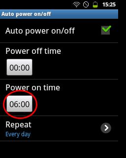 "Tap kotak waktu ""Power on time"" (Samsung Galaxy Young)"
