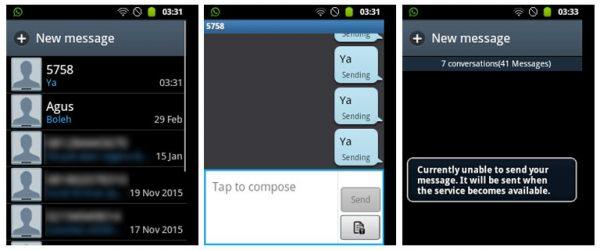 Smartphone android tidak bisa mengirim SMS