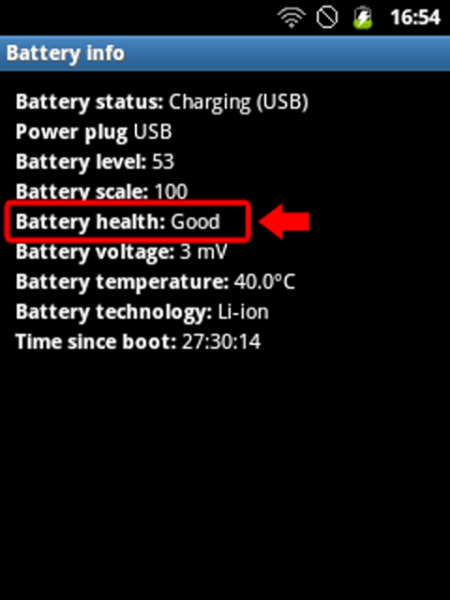 Keterangan Battery Info Samsung Galaxy Young CDMA