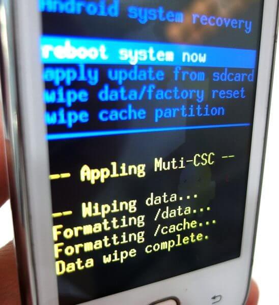 Recovery mode Samsung Galaxy Young CDMA SCH-i509 - notifikasi wiping data