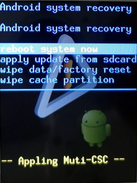 Recovery mode Samsung Galaxy Young CDMA SCH-i509 - tampilan recovery mode menu