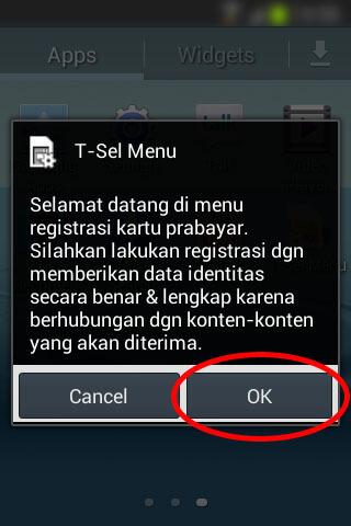 Registrasi SIM prabayar Telkomsel - Pop-up selamat datang.