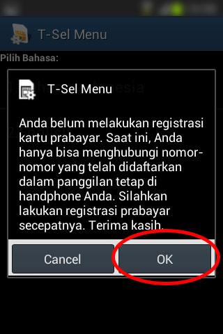 Registrasi SIM prabayar Telkomsel - Pop-up notifikasi bahwa kartu belum diregistrasi.