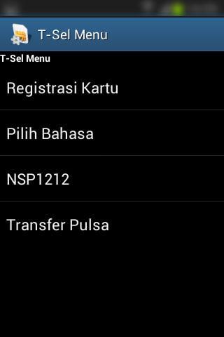 Registrasi SIM prabayar Telkomsel - Daftar menu utama T-Sel Menu.