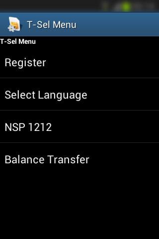 Registrasi SIM prabayar Telkomsel - Daftar menu utama T-Sel Menu (English).