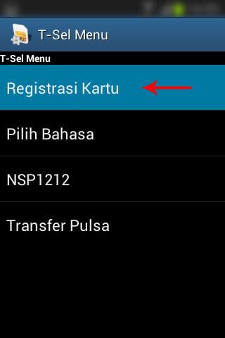 """Registrasi SIM prabayar Telkomsel - Pilih menu """"Registrasi Kartu""""."""