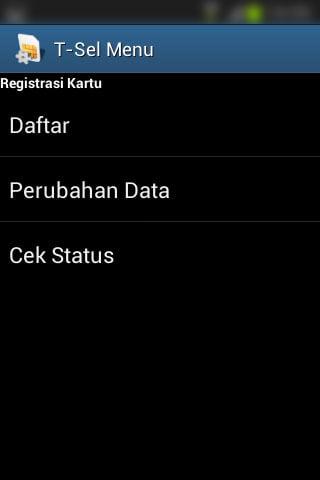 """Registrasi SIM prabayar Telkomsel - Submenu dari menu """"Registrasi Kartu""""."""