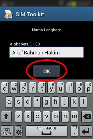"""Registrasi SIM prabayar Telkomsel - Isi """"Nama Lengkap""""."""