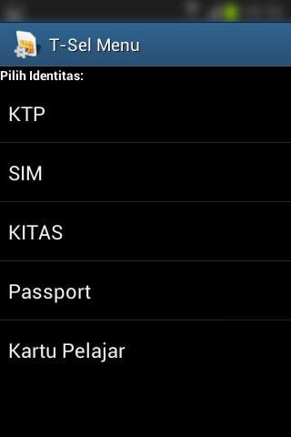 Registrasi SIM prabayar Telkomsel - Pilih jenis Identitas.
