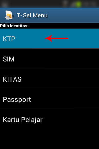 "Registrasi SIM prabayar Telkomsel - Pilih ""KTP""."
